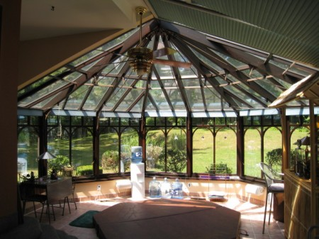 Wood interior conservatory with aluminum exterior