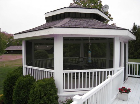 Gazebo style room with full screening and screen door
