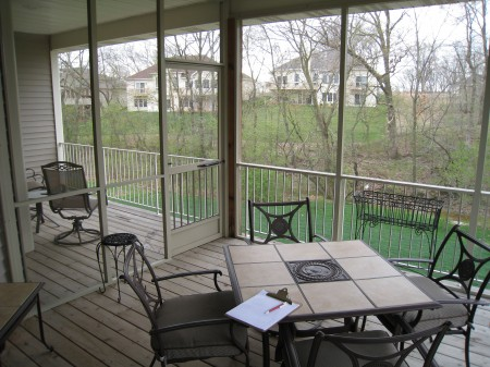 Screen enclosure for an existing deck or patio.